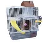 Double Layer Villa Shape Iron Wire Cage with Feeding Bowl Running Wheel Slide Toy for Pet Hamster Brown_23*17*28cm