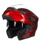 Double Lens Motorcycle Helmet Washable Liner Aerodynamic Design Helmet Red XL
