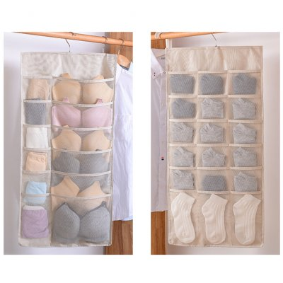Double Side Waterproof Moistureproof Hanging Storage Bag for Clothes Beige 12+18