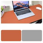 Double Sided Desk Mousepad Extended Waterproof Microfiber Gaming Keyboard Mouse Pad for Office Home School Brown   light gray Size  60x30