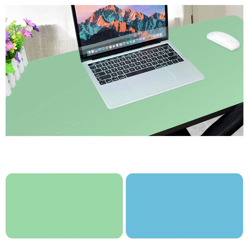 Double Sided Desk Mousepad Extended Waterproof Microfiber Gaming Keyboard Mouse Pad for Office Home School Light green + lake blue_Size: 80x40