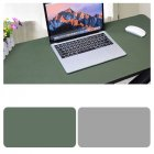 Double Sided Desk Mousepad Extended Waterproof Microfiber Gaming Keyboard Mouse Pad for Office Home School Army Green + Light Gray_Size: 80x40