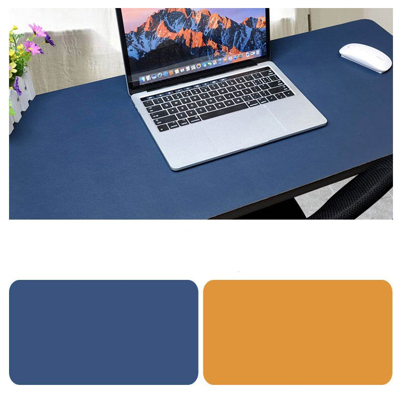 Double Sided Desk Mousepad Extended Waterproof Microfiber Gaming Keyboard Mouse Pad for Office Home School Sapphire + yellow_Size: 80x40
