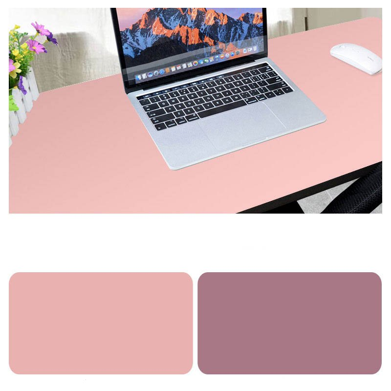 Double Sided Desk Mousepad Extended Waterproof Microfiber Gaming Keyboard Mouse Pad for Office Home School Pink + hibiscus purple_Size: 90x40