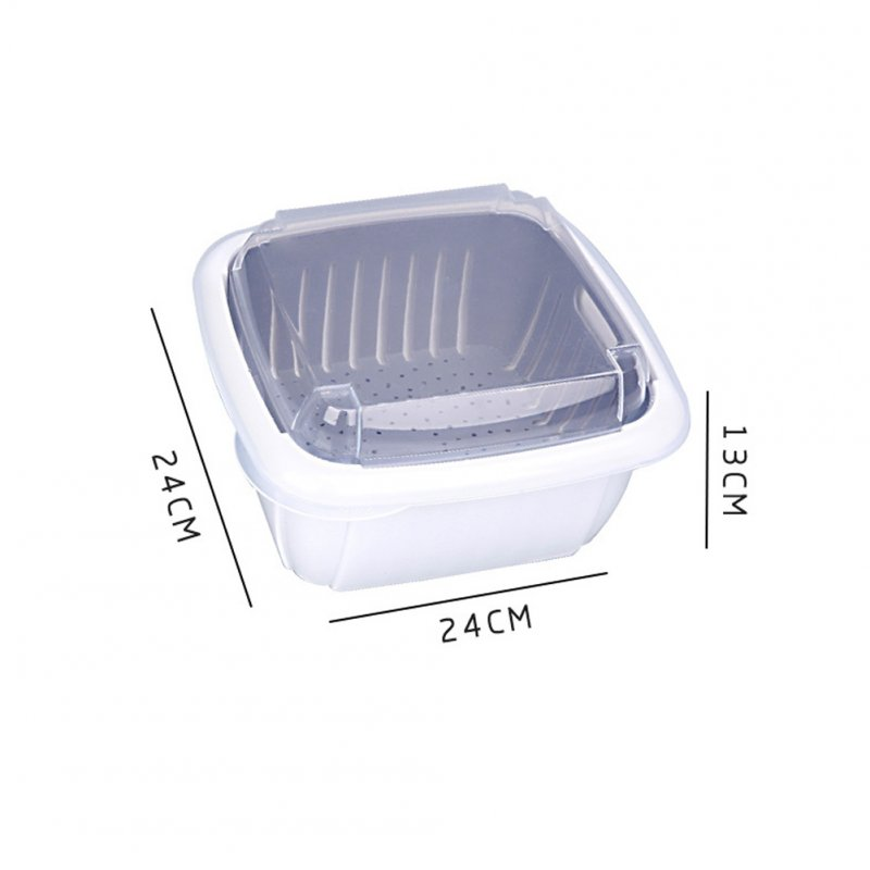 Double Tier Storage Box with Lid Household Refrigerator Fruit Vegetable Drain Basket white_24 * 24 * 13cm