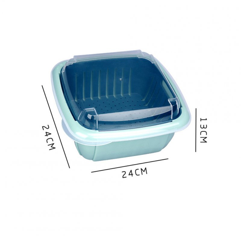 Double Tier Storage Box with Lid Household Refrigerator Fruit Vegetable Drain Basket Lake Blue_24 * 24 * 13cm