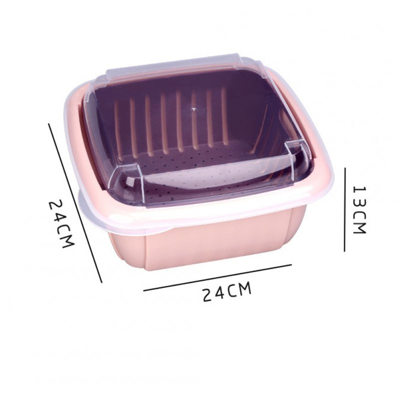 Double Tier Storage Box with Lid Household Refrigerator Fruit Vegetable Drain Basket Pink_24 * 24 * 13cm