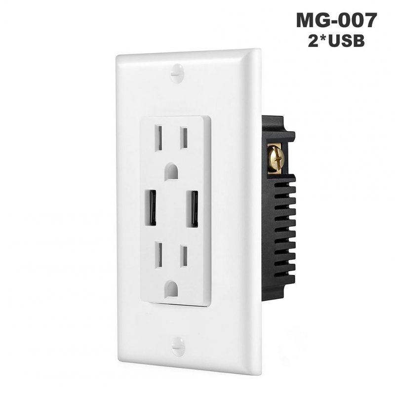 Double USB High Speed Safety Charger Duplex Receptacle Tamper Resistant Wall Socket Plate