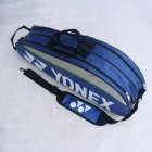 Double-deck Sport Tennis Bag Professional Tennis Racket Bag PU Badminton Backpack  blue