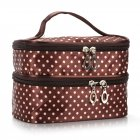 Double-layer Makeup Cosmetic Bag Wave Point Travel Case Toiletry Beauty Organizer Zipper Holder Handbag