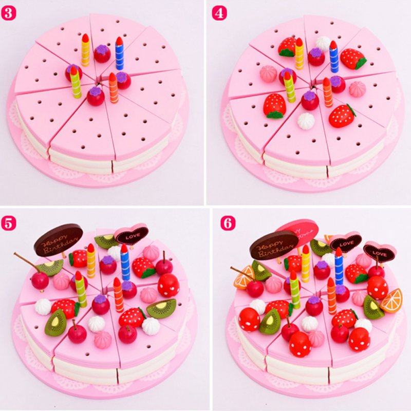 Double-layer Wooden Cake Fruit Candle Cutting Self-Sticking Children Play House DIY Toy Gift