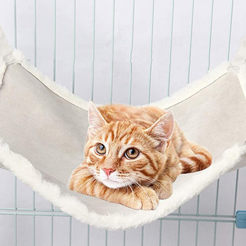Double-sided Cat Suede Hammock Bunny Sleeping Nest Bed with Hanging Hook Pet Supply M (48 * 38CM)