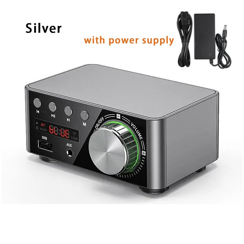 Douk Audio Mini TPA3116 Power Amplifier Bluetooth 5.0 Receiver Stereo Home Car Audio Amp USB U-disk Music Player Silver