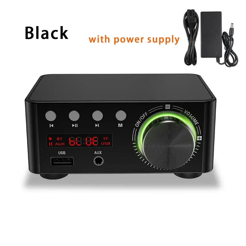 Douk Audio Mini TPA3116 Power Amplifier Bluetooth 5.0 Receiver Stereo Home Car Audio Amp USB U-disk Music Player black