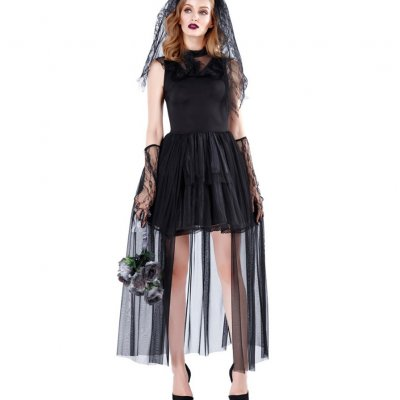 Dress Queen Black Queen Witch Costume Vampire Devil Halloween Party Dress Cosplay Outfit black_L