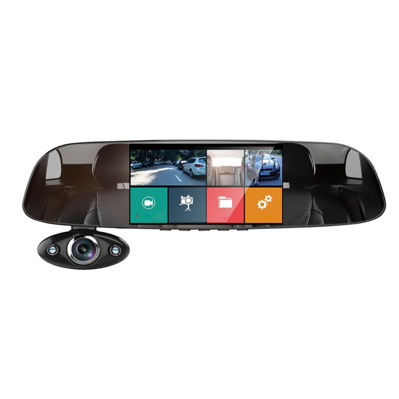 Driving Recorder Three Recording Rearview Mirror Reversing Image 5 inch HD Night Vision black