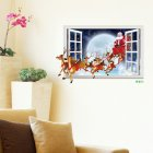 Driving Santa Claus Elk 3D Window Wall Christmas Decoration Living Room Background Sticker Decal XH7229 50x70cm