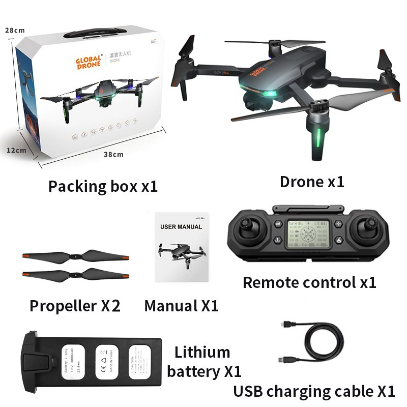 Drone Gd91 Pro Two-axis Mechanical Self-stabilizing Gimbal Brushless Gps Aerial Drone 4k Hd Remote Control Aircraft as shown