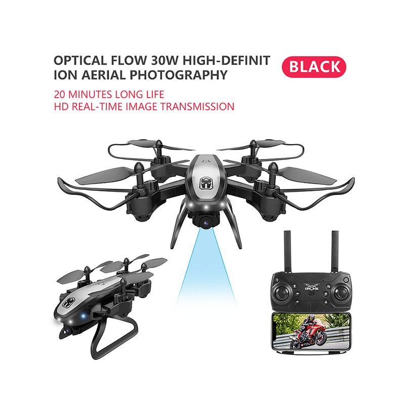 Drone Ky909 Hd 4k Wifi Video Live Fpv Drone Light Flow Keep Height Quad-axis Aircraft One-button Take-off Drone with Box black_480P (color box)