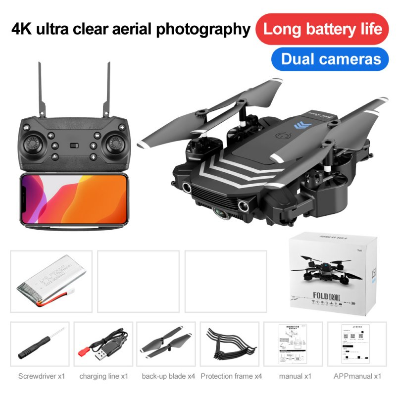 Drone LS11 4K Optional Dual Camera RC Quadcopter Transmitter USB Charging Cable Protection Cover Spare Blades Set Dual camera 4K