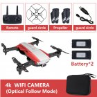 Drone x pro 5G Selfie WIFI FPV with 4K HD Dual Camera Foldable RC Quadcopter 4K red 2 battery