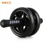 Dual Wheels Abdominal Roller No Noise with Mat for Muscle Exercise Home Fitness Equipment black