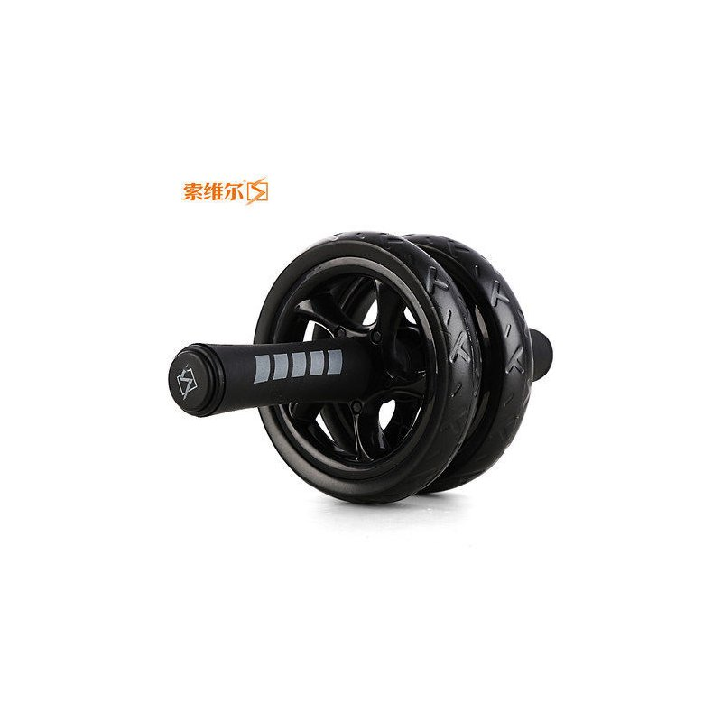 Dual-Wheels Abdominal Roller No Noise with Mat for Muscle Exercise Home Fitness Equipment black