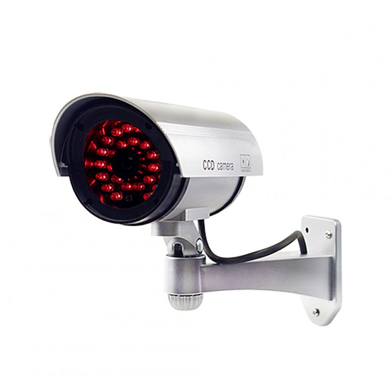 Dummy Bullet Camera with IR LEDs Fake Simulation CCTV Camera Silver