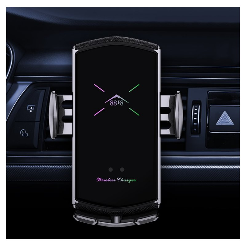 E6 Car Charger With Magnetic Suction Head Multi-function Phone Stand Smart Wireless Fast Charging Car Charger Color