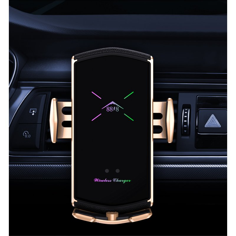 E6 Car Charger With Magnetic Suction Head Multi-function Phone Stand Smart Wireless Fast Charging Car Charger Golden
