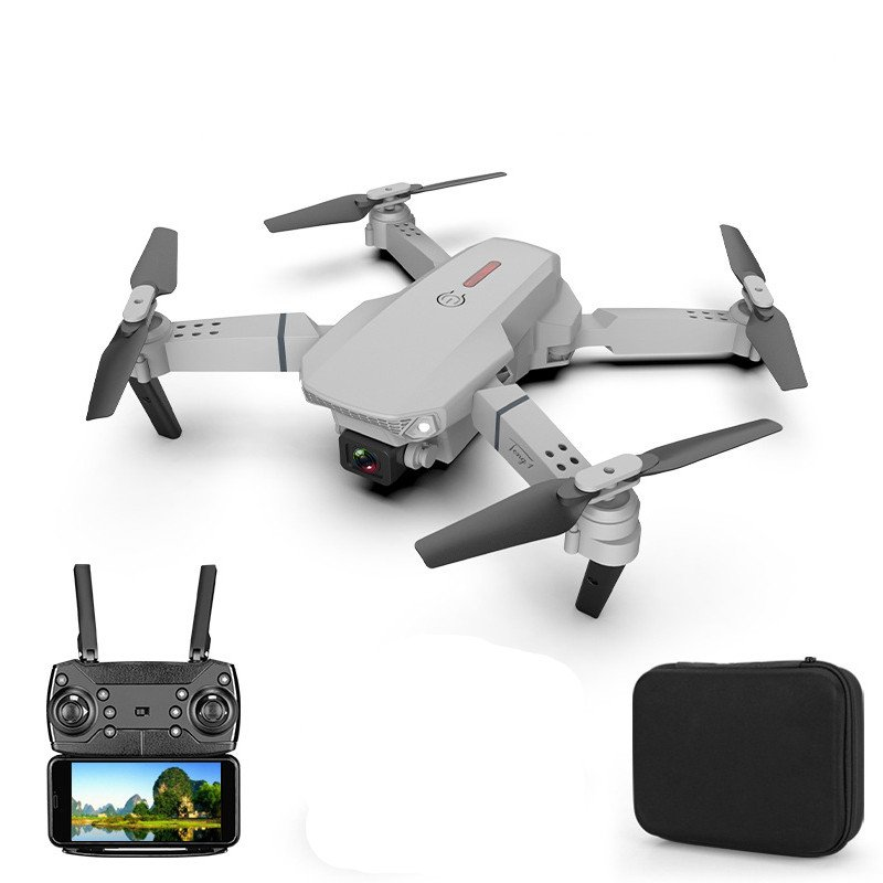E88 pro drone 4k HD dual camera visual positioning 1080P WiFi fpv drone height preservation rc quadcopter Gray 4k dual camera 2 batteries