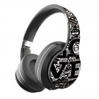 BT Headset Graffiti Pattern Head-mounted Wireless Bluetooth Headphone Universal for PC and Phone Plug-in Card Foldable Black and silver