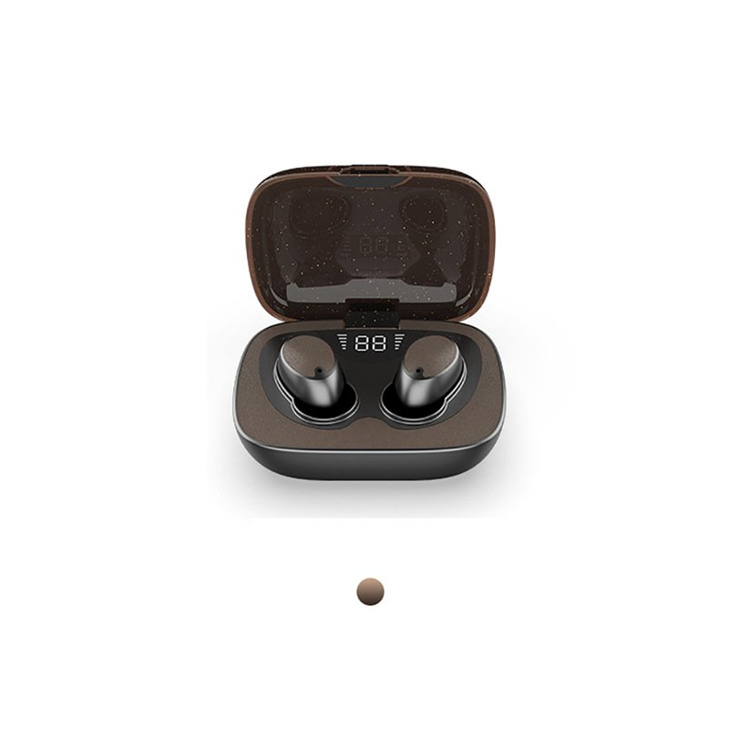 ES02 Wireless Earphones Touch Contorl Bluetooth5.0 Headset Stereo Noise Reduction Waterproof Sports Headphone with 600mAh Charging Case brown