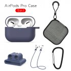 Earphone Protective Case for AirPods Pro Soft Silicone Cover+Carabiner+Anti-lost Strap+Wrist Holder+Storage Bag Blue