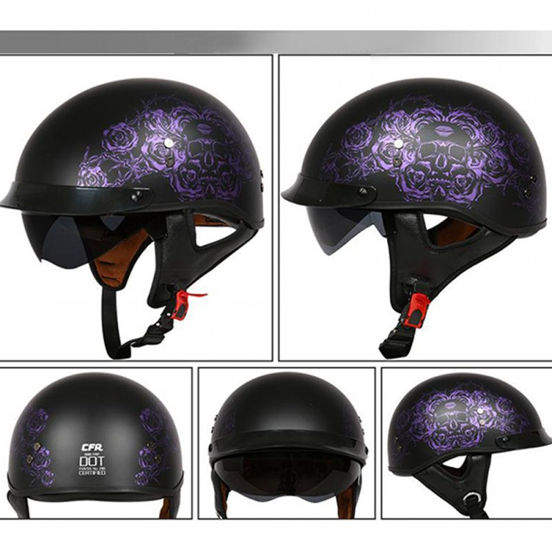 Retro Helemt Half Face Motorcylce Hat FRP Prince Helmet Sub dark purple rose XL