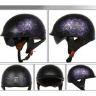 Retro Helemt Half Face Motorcylce Hat FRP Prince Helmet Sub-black deep purple rose L