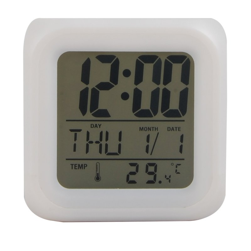 EkitMall 7 LED Colour Changing Digital LCD Alarm Clock Thermometer Date Time Night Light
