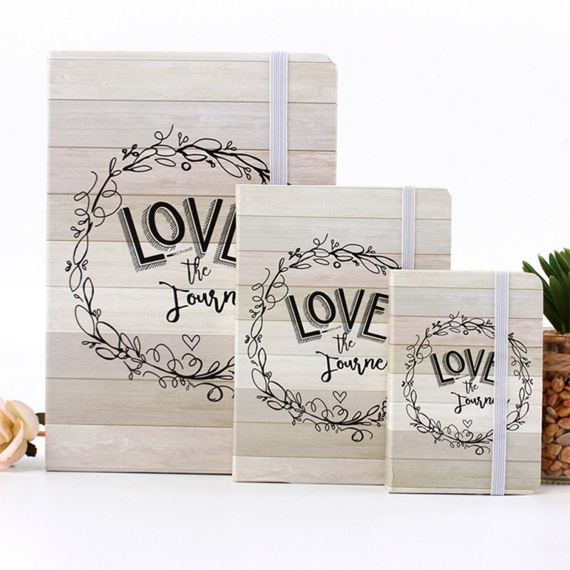 Elastic Band Notebook with Wood Grain Letters Printing Cover
