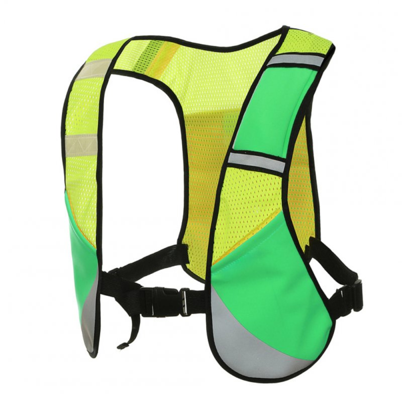 Elastic Multifunction Reflective Vest for Night Riding Running Sports green