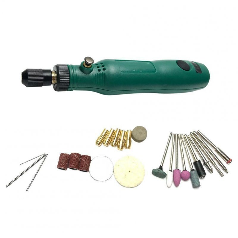Electric Drill Grinding Set Kit 3.6V DC Grinder Milling Polishing Engraving Tool green
