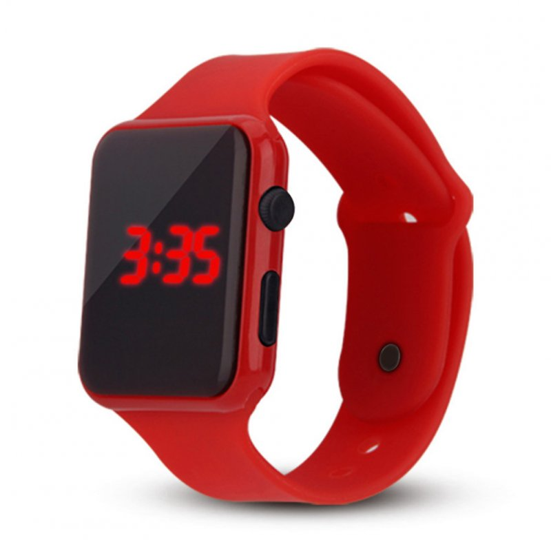 Electric LED Wristwatch Silicone Band Digital Display Watch Gifts for Boys and Girls red