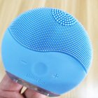 Electric Silicone Face Cleansing Brush Sonic Vibration Massage USB Rechargeable Smart Ultrasonic Face Cleaner blue