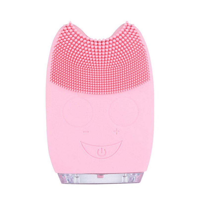 Electric Silicone Ultrasonic Vibration Massage Facial Cleaner Pink_Pink