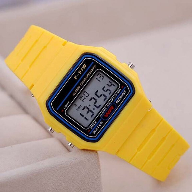 Electric Sport Watch LED Digital Waterproof Quartz Wrist Watch Gifts for Boys and Girls yellow