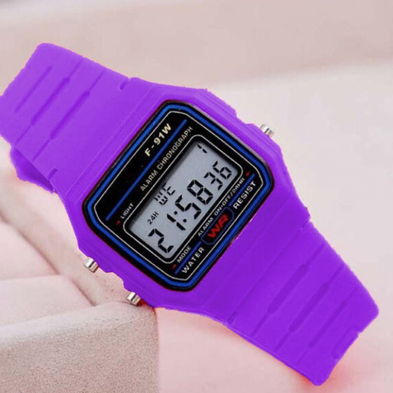 Electric Sport Watch LED Digital Waterproof Quartz Wrist Watch Gifts for Boys and Girls purple