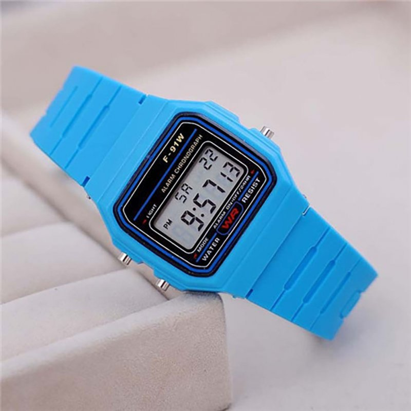 Electric Sport Watch LED Digital Waterproof Quartz Wrist Watch Gifts for Boys and Girls Light blue
