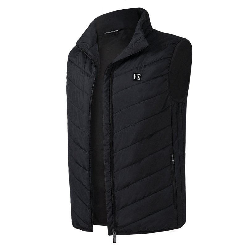 Electric Vest Heated Jacket USB Thermal Warm Heated Pad Winter Body Warmer black_4XL