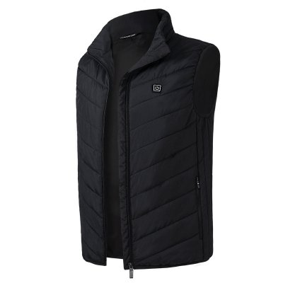 Electric Vest Heated Jacket USB Thermal Warm Heated Pad Winter Body Warmer black_L