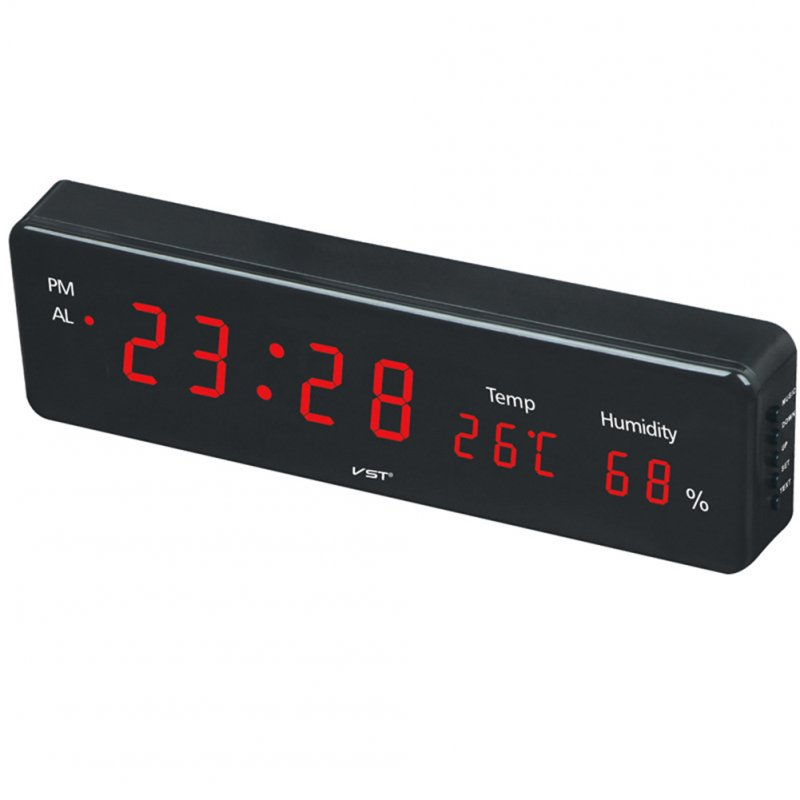 Electronic LED Digital Wall Clock with Temperature Humidity Display Home Clocks European Plug red