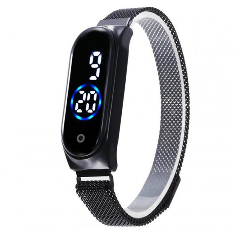 Electronic Watch Magnetic Quartz Waterproof Touch Led Bracelet Black (blue circle)